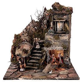 Nativity village with balcony fountain Neapolitan nativity set 8 cm 40x40x40 cm s1