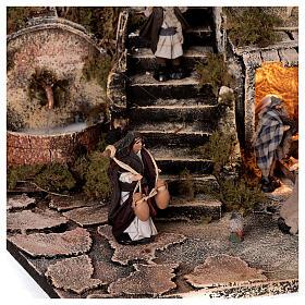 Nativity village with balcony fountain Neapolitan nativity set 8 cm 40x40x40 cm s4