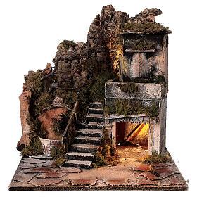 Nativity village with balcony fountain Neapolitan nativity set 8 cm 40x40x40 cm s8
