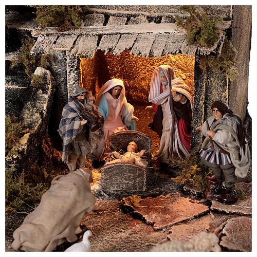 Nativity village with balcony fountain Neapolitan nativity set 8 cm 40x40x40 cm 2