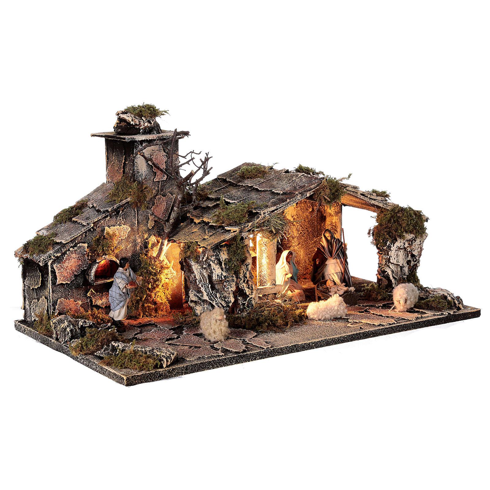 Capanna natività statue 8 cm con forno presepe napoletano 25x50x25 cm 4