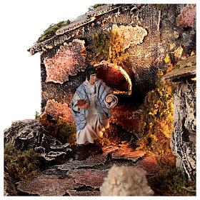 Cabana Natividade com forno, figuras altura média 8 cm presépio napolitano, 27x49x23 cm s4