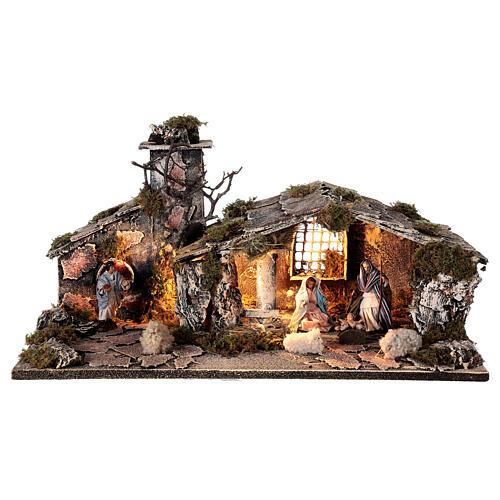 Cabana Natividade com forno, figuras altura média 8 cm presépio napolitano, 27x49x23 cm 1