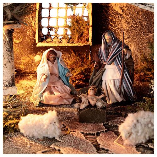 Cabana Natividade com forno, figuras altura média 8 cm presépio napolitano, 27x49x23 cm 2