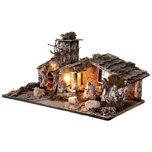 Cabana Natividade com forno, figuras altura média 8 cm presépio napolitano, 27x49x23 cm 3