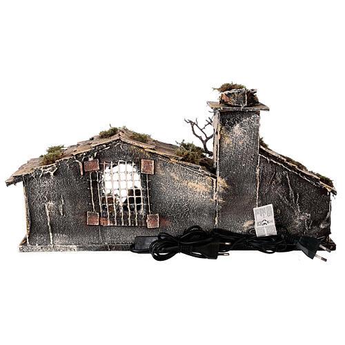 Cabana Natividade com forno, figuras altura média 8 cm presépio napolitano, 27x49x23 cm 6