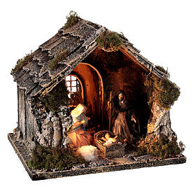 Nativity stable with pitched roof 10 cm Neapolitan nativity 20x25x20 s4