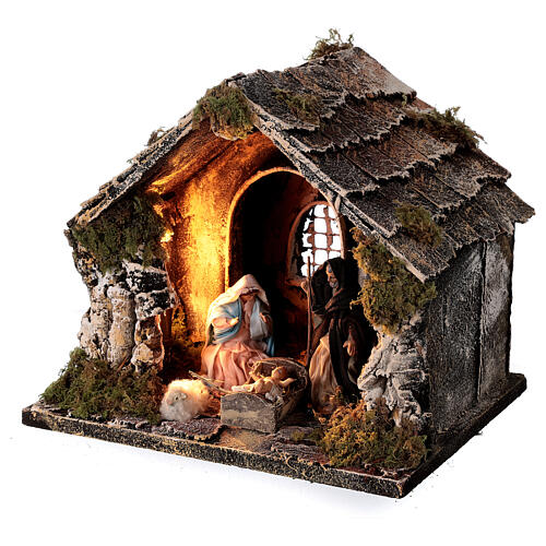 Nativity stable with pitched roof 10 cm Neapolitan nativity 20x25x20 3