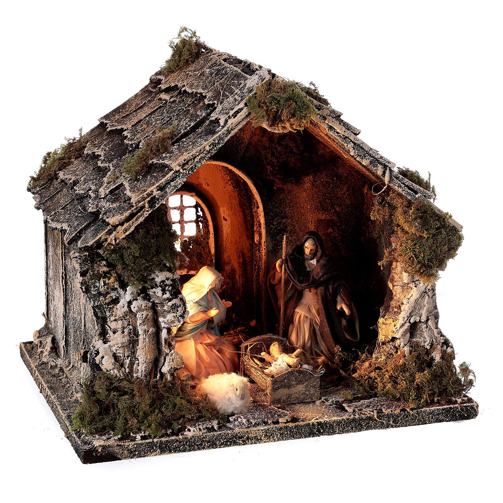 Cabane toit en pente figurines Nativité 10 cm crèche napolitaine 20x25x20 cm 4