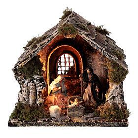 Cabane toit en pente figurines Nativité 10 cm crèche napolitaine 20x25x20 cm s1
