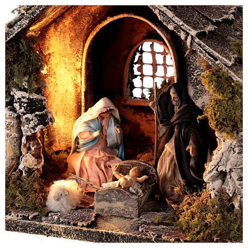 Cabane toit en pente figurines Nativité 10 cm crèche napolitaine 20x25x20 cm 2