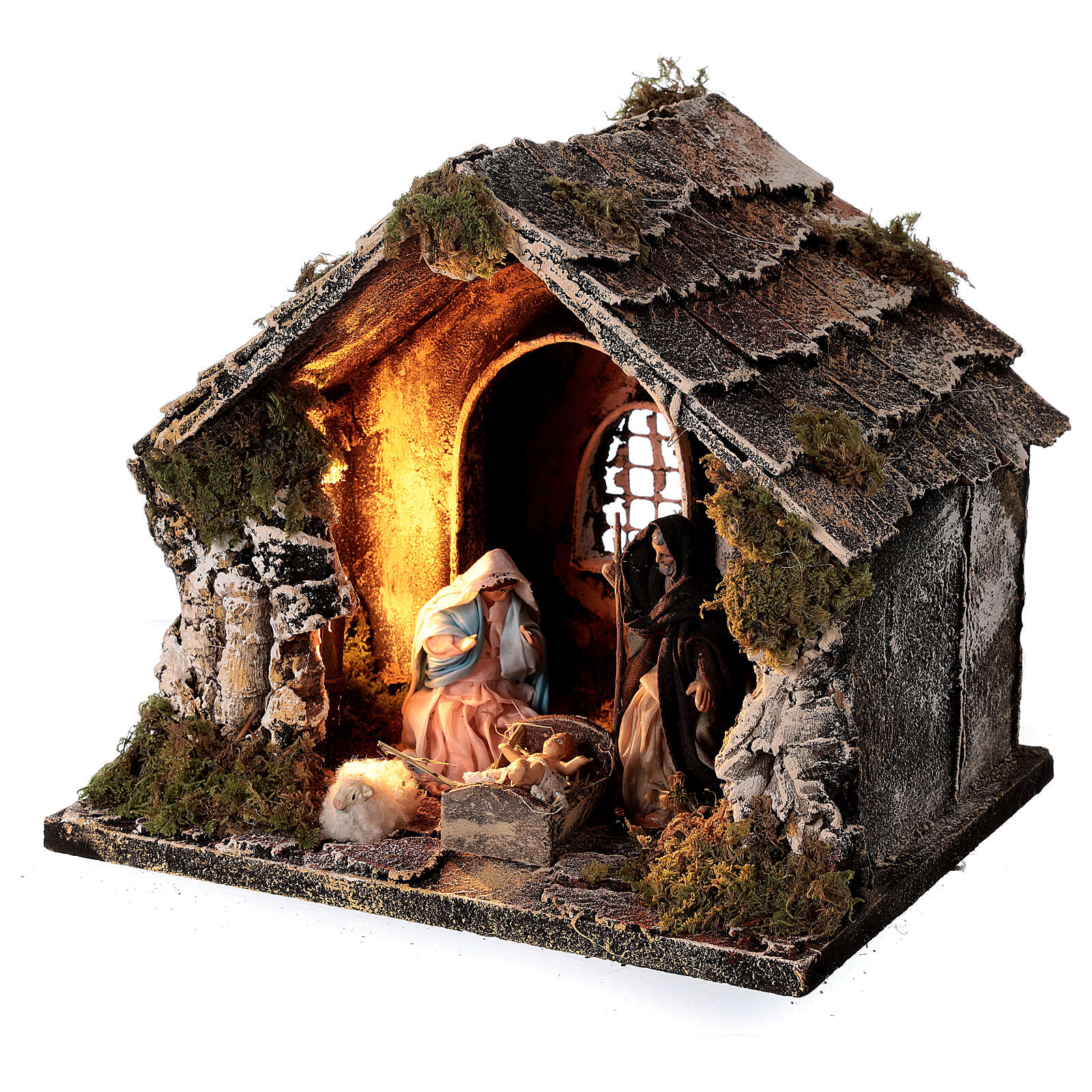 Nativity stable with pitched roof 10 cm Neapolitan nativity 20x25x20 4