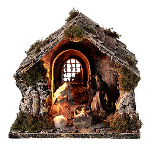 Nativity stable with pitched roof 10 cm Neapolitan nativity 20x25x20 1