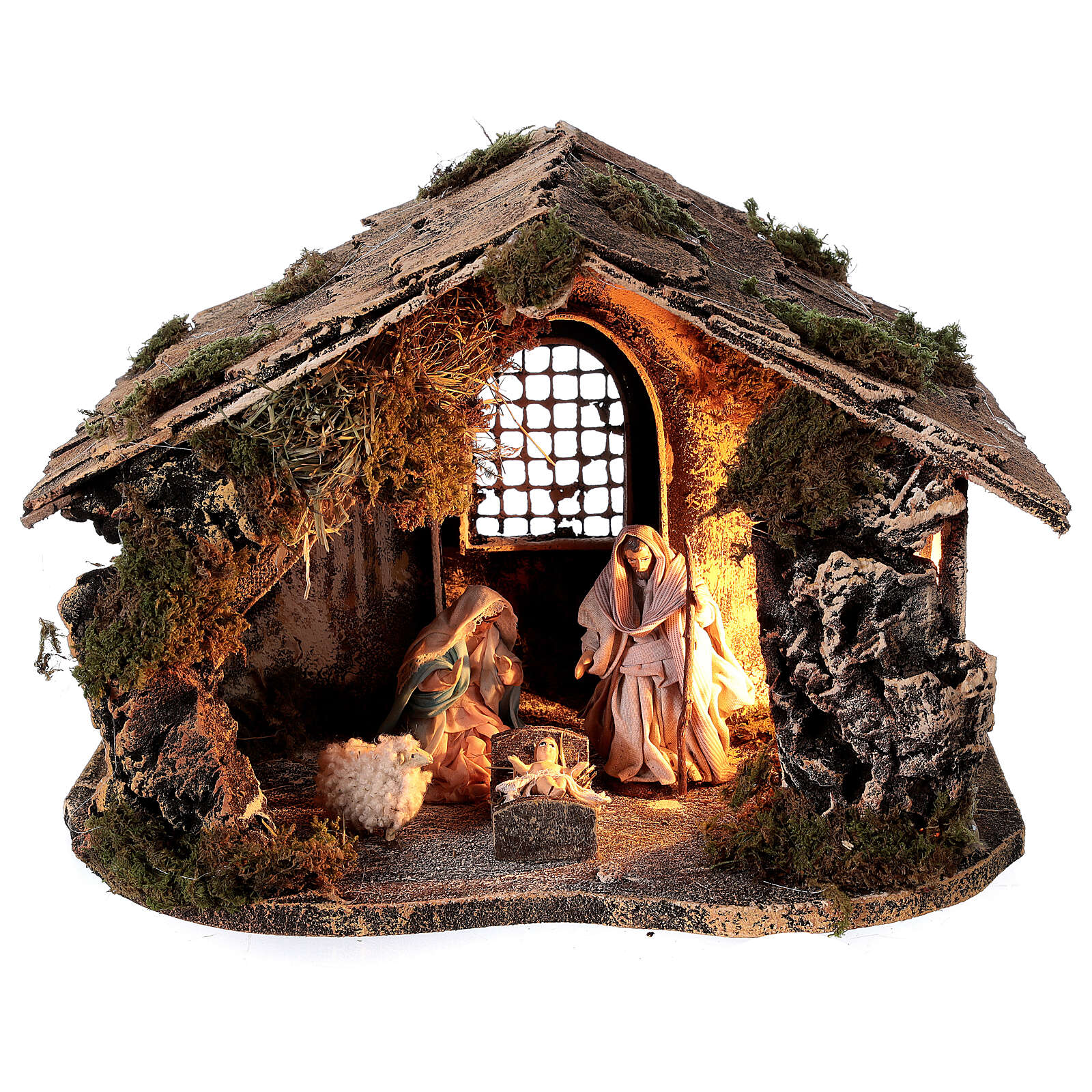 Nativity set with stable depth effect 10 cm Neapolitan nativity 25x35x20 4