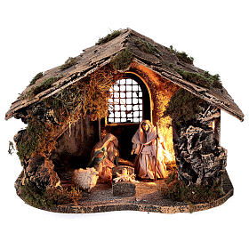 Nativity set with stable depth effect 10 cm Neapolitan nativity 25x35x20 s1