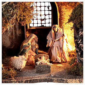 Nativity set with stable depth effect 10 cm Neapolitan nativity 25x35x20 s2