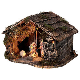 Nativity set with stable depth effect 10 cm Neapolitan nativity 25x35x20 s3