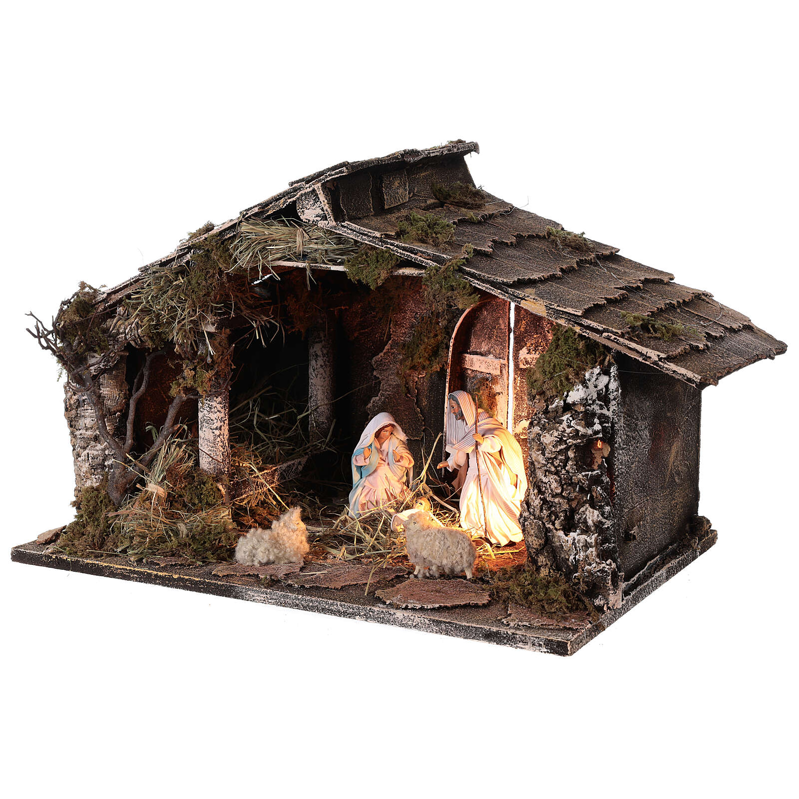 Wooden nativity stable with sloped roof 12 cm Nativity scene Neapolitan 30x45x30 4