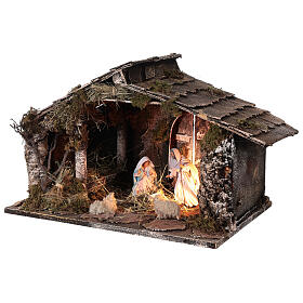 Wooden nativity stable with sloped roof 12 cm Nativity scene Neapolitan 30x45x30 s3