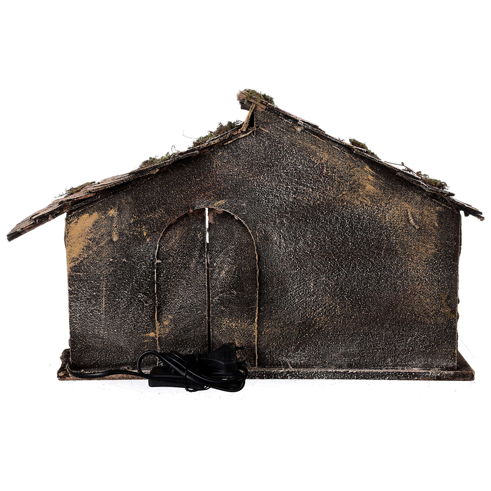 Capanna tetto spiovente Natività statue 12 cm presepe napoletano 30x45x30 4