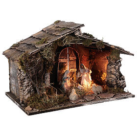 Wooden nativity stable with sloped roof 12 cm Nativity scene Neapolitan 30x45x30 s4