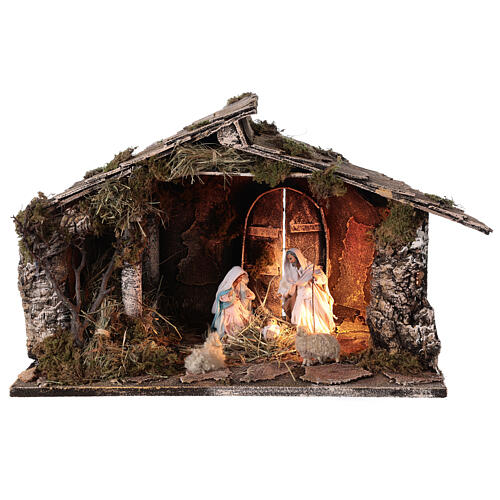 Wooden nativity stable with sloped roof 12 cm Nativity scene Neapolitan 30x45x30 1