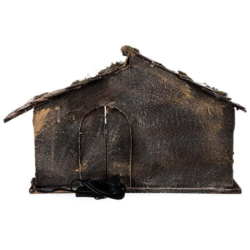 Wooden nativity stable with sloped roof 12 cm Nativity scene Neapolitan 30x45x30 5