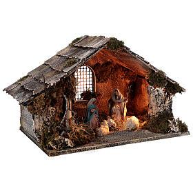 Nativity stable with Holy Family hay decor 12 cm Neapolitan nativity 30x40x30 s4
