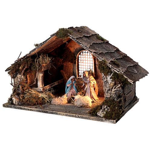 Nativity stable with Holy Family hay decor 12 cm Neapolitan nativity 30x40x30 3