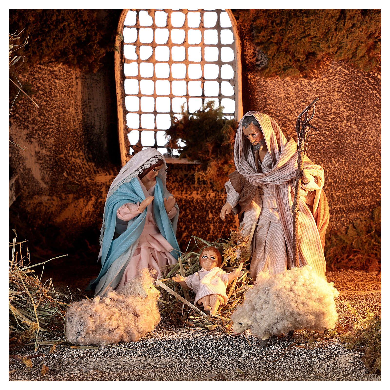 Nativity stable with Holy Family hay decor 12 cm Neapolitan nativity 30x40x30 4