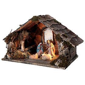 Nativity stable with Holy Family hay decor 12 cm Neapolitan nativity 30x40x30 s3