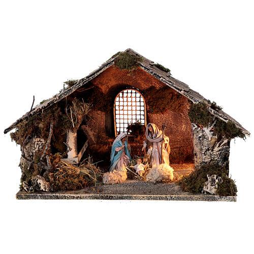 Nativity stable with Holy Family hay decor 12 cm Neapolitan nativity 30x40x30 1