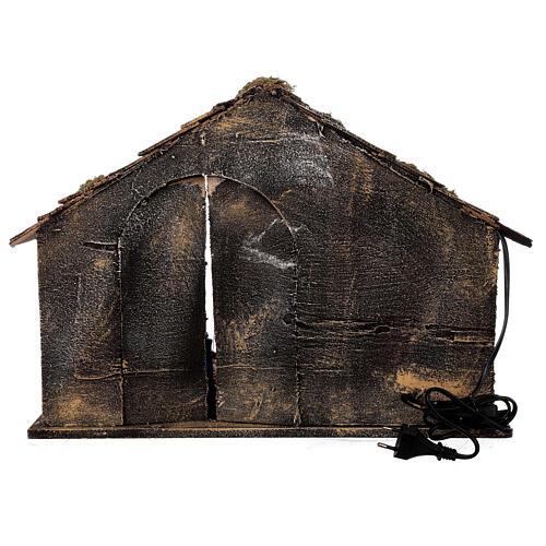 Capanna Natività terracotta 14 cm portone socchiuso presepe napoletano 30x50x40 5