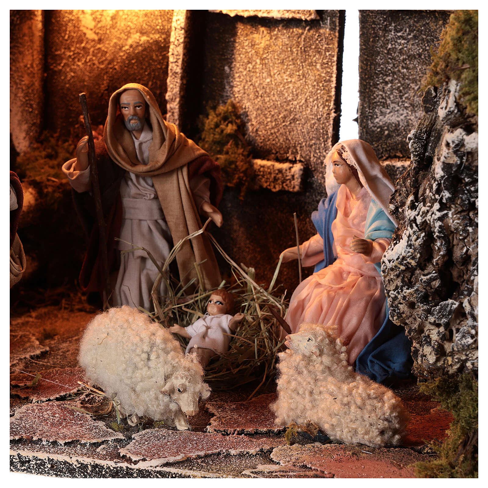 Cabana Natividade figuras terracota altura média 14 com portão presépio napolitano 29x50x38 4