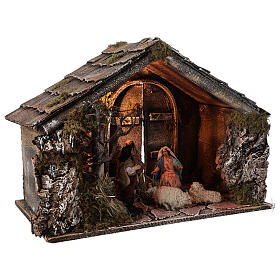 Cabana Natividade figuras terracota altura média 14 com portão presépio napolitano 29x50x38 s4