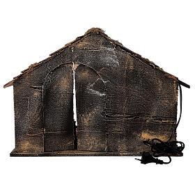 Cabana Natividade figuras terracota altura média 14 com portão presépio napolitano 29x50x38 s5