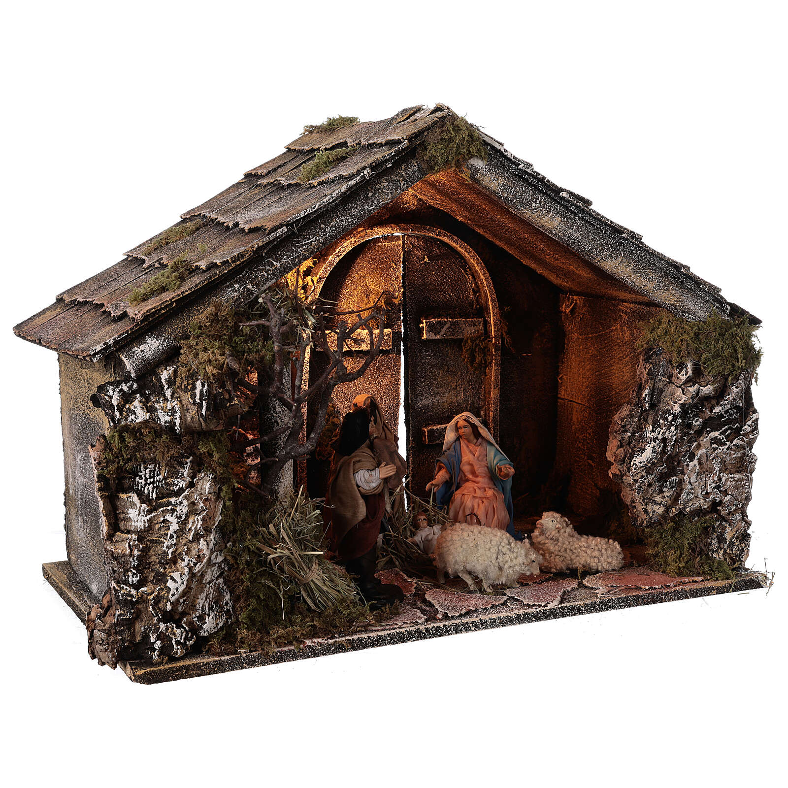 Nativity stable with 14 cm Holy Family terracotta backdoor ajar Neapolitan nativity 30x50x40 4