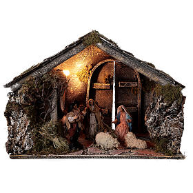 Nativity stable with 14 cm Holy Family terracotta backdoor ajar Neapolitan nativity 30x50x40 s1