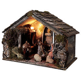 Nativity stable with 14 cm Holy Family terracotta backdoor ajar Neapolitan nativity 30x50x40 s3