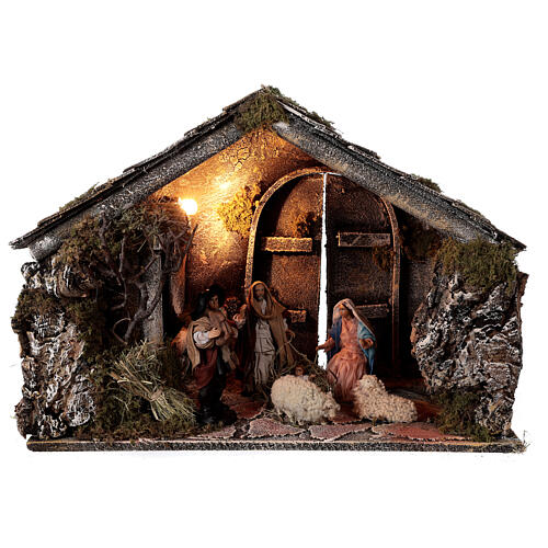 Nativity stable with 14 cm Holy Family terracotta backdoor ajar Neapolitan nativity 30x50x40 1