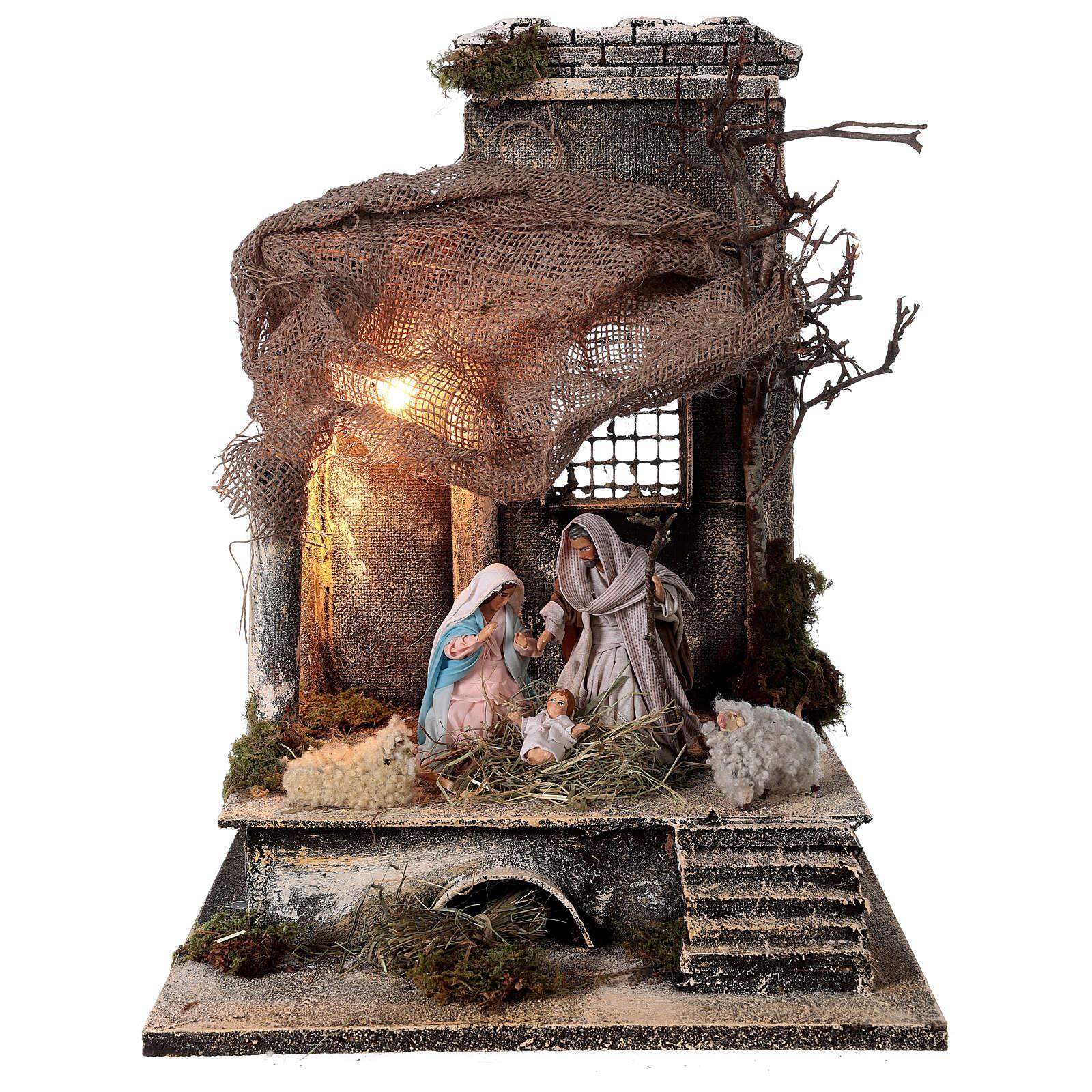 Capanna Natività statue 12 cm tetto iuta presepe napoletano 30x30x35 cm 4