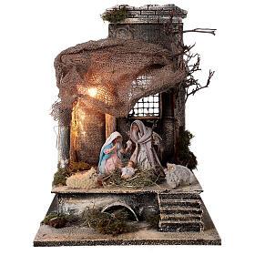 Capanna Natività statue 12 cm tetto iuta presepe napoletano 30x30x35 cm s1