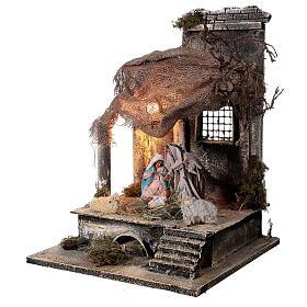 Capanna Natività statue 12 cm tetto iuta presepe napoletano 30x30x35 cm s3