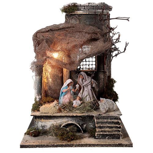 Capanna Natività statue 12 cm tetto iuta presepe napoletano 30x30x35 cm 1