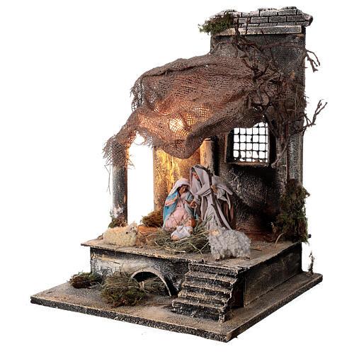 Capanna Natività statue 12 cm tetto iuta presepe napoletano 30x30x35 cm 3