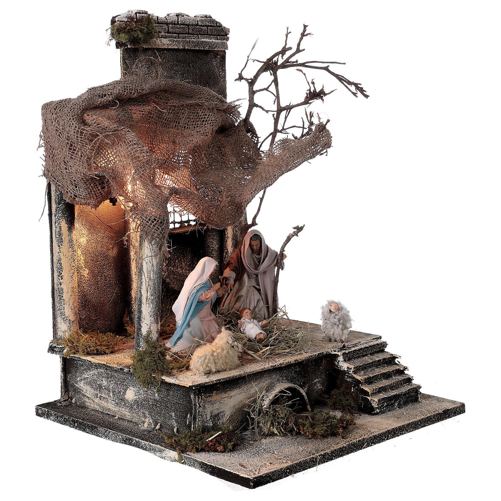 Nativity stable statues 12 cm jute roof Neapolitan nativity 30x30x35 cm 4