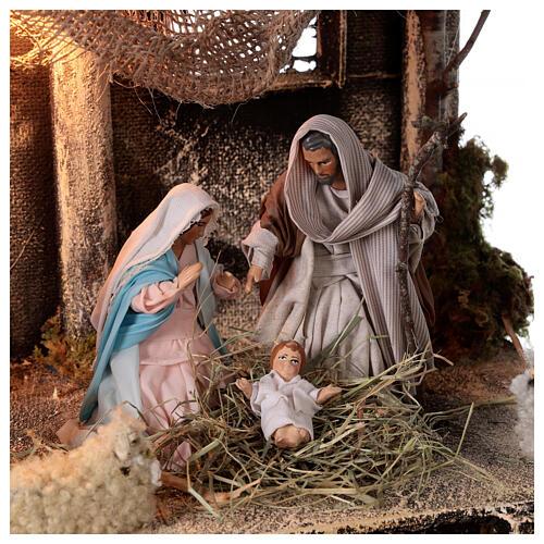 Nativity stable statues 12 cm jute roof Neapolitan nativity 30x30x35 cm 2