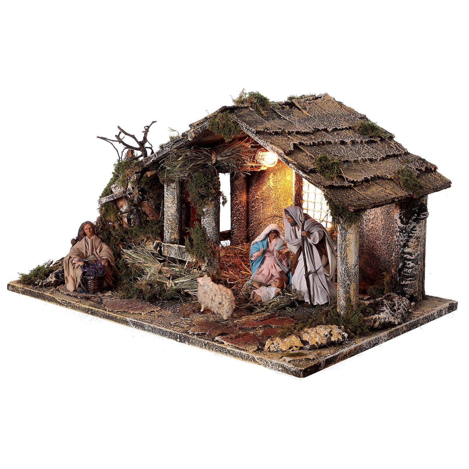 Cabana completa Natividade com fonte e figuras altura média 12 cm presépio napolitano 30x47x26 cm 4
