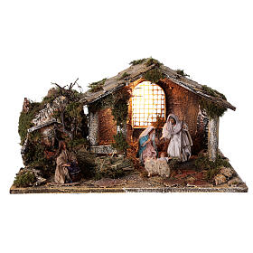 Cabana completa Natividade com fonte e figuras altura média 12 cm presépio napolitano 30x47x26 cm s1