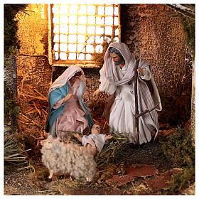 Cabana completa Natividade com fonte e figuras altura média 12 cm presépio napolitano 30x47x26 cm s2